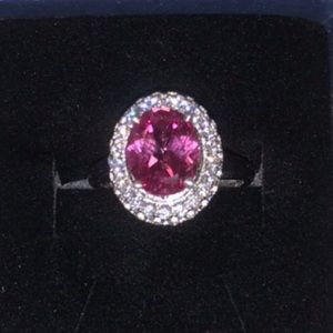 NEW 5 Ct. Pink Sapphire Silver Ring